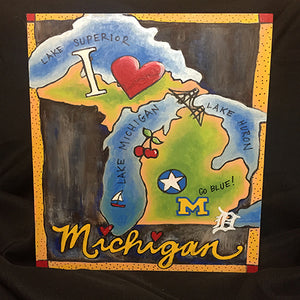 "Thatartgirl 9x12"" DIY Unpainted Wood Panel: State of Michigan with Transfer Kit (Finished Sample)"