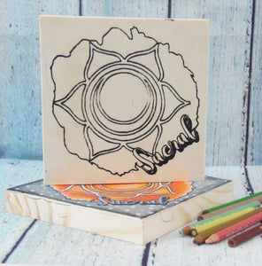 "Coloring Chakra Sacral Mystic Themed| 6"" x 6"" Wooden Board or Kit"