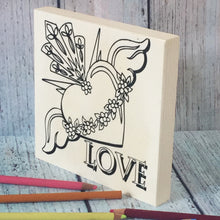 Side view Love Sacred Winged Heart Coloring Board