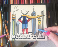 Stand Tall NicheBoard in progress on colored pencil background