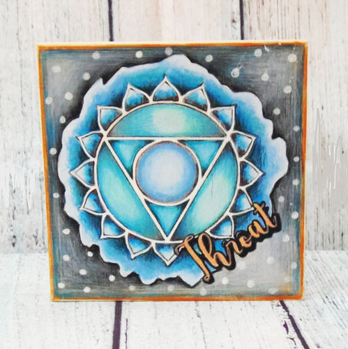 "Coloring Chakra Throat Mystic Themed| 6"" x 6"" Wooden Board or Kit"