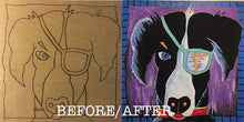 Before and after patched pooch NichBoard unpainted and painted side by side