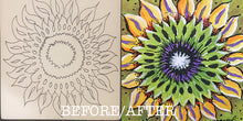 Before and After Sunflower NicheBoard Unfinished and Finished Side by Side