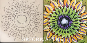 "Thatartgirl 6x6"" DIY Unpainted Wood Panel: Sunflower (Before and After)"