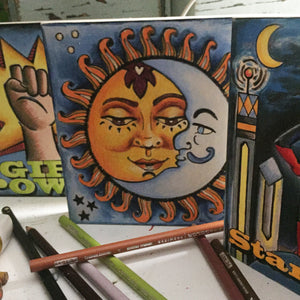 Finished Sun Moon Board with two other finished colored pencil