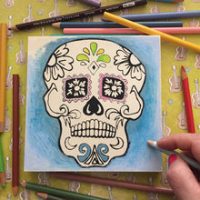 In progress Sugar Skull NicheBoard with colored pencil