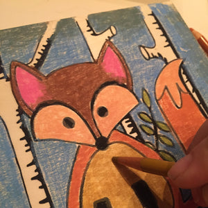 "6x6"" Paint and/or Color NicheBoard: Fox in Woods"