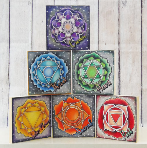 "Coloring Chakra Root Mystic Themed| 6"" x 6"" Wooden Board or Kit"