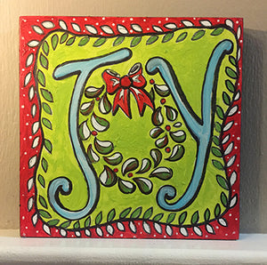 Finished Joy NicheBoard painted red, green, light blue