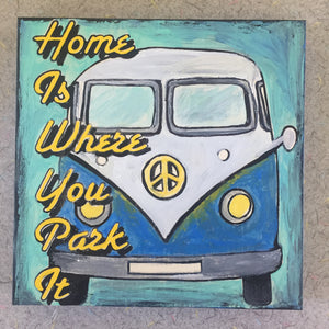 Finished Home is Where You Park It NicheBoard painted blue, yellow, aqua