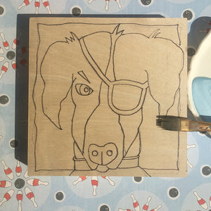 All set up ready to paint Patched Pooch NicheBoard flat on patterned background