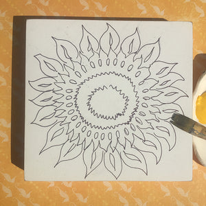 Unfinished Sunflower NicheBoard all ready to paint on yellow background