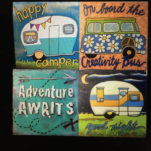 "Thatartgirl 6x6"" DIY Unpainted Wood Panel: Wanderlust Collection (Finished Samples)"