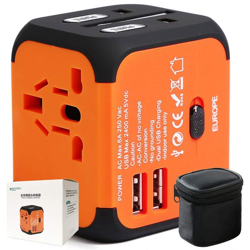 40,000KM Universal Travel Adapter w/ Dual USB Port - Store 974 | ستور ٩٧٤
