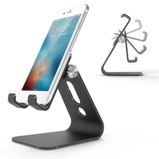 Adjustable Aluminum Desktop Cellphone Tablet Stand Holder for Cellphones, iPhone and E-Readers, Black