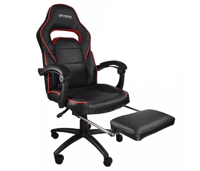 Dragon War GC-006 Foot Rest Gaming Chair - Red/Black
