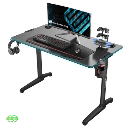 Eureka Ergonomic Colonel Series GIP 44 E-sports Computer Desk With Fiber Optic RGB Lights - Store 974 | ستور ٩٧٤