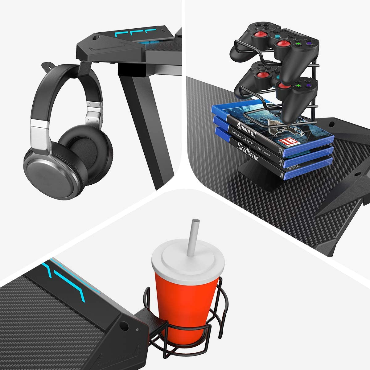 Eureka Ergonomic Gamer's Gear Rack Bundle - Cup Holder, Headset Hook & Controller Rack