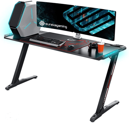 Eureka Ergonomic Z60 Gaming Desk with RGB Lights-Black - Store 974 | ستور ٩٧٤