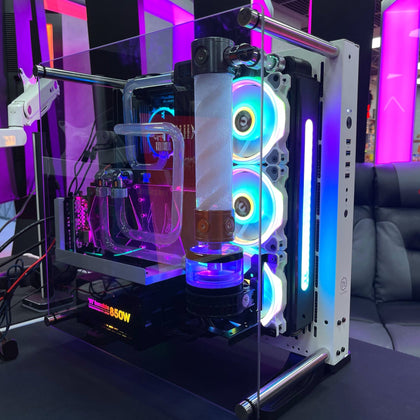 ( Pre-Built ) Watercooling PC AMD Ryzen 7 with 2080ti Artic Storm - Thermaltake P3 TG Snow Case - Store 974 | ستور ٩٧٤