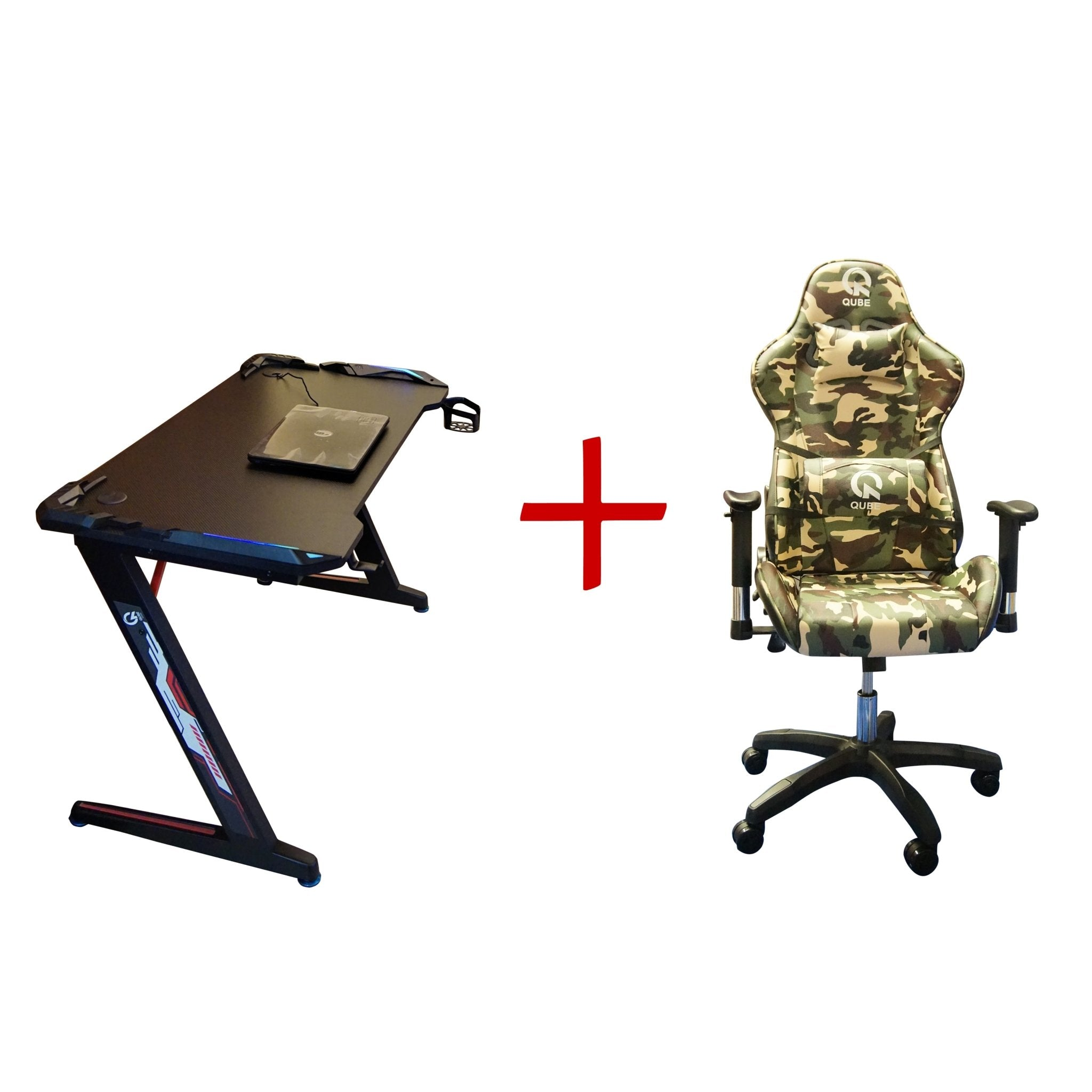 Qube Levin Gaming Table + Gaming Chair Bundle - Model One