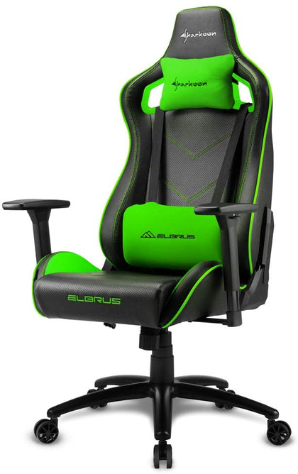 Sharkoon Elbrus 2 Gaming Chair- Black/Green - Store 974 | ستور ٩٧٤