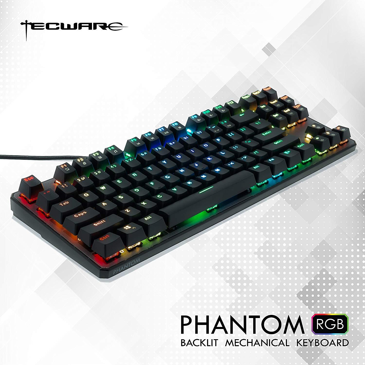 Tecware Phantom 87 Key Mechanical RGB Keyboard - Outemu Blue