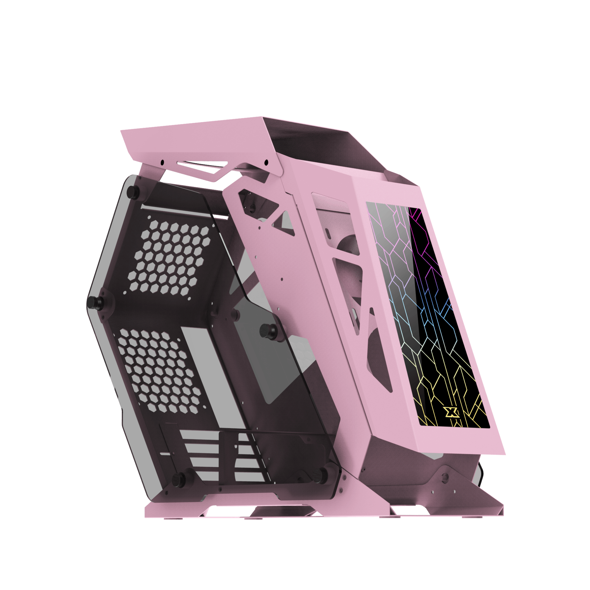 Xigmatek ZEUS M QUEEN - Spectrum Edition (Pink, MATX, USB3.0x2, Front RGB Panel, Left & Right Tempered Glass) - Store 974 | ستور ٩٧٤