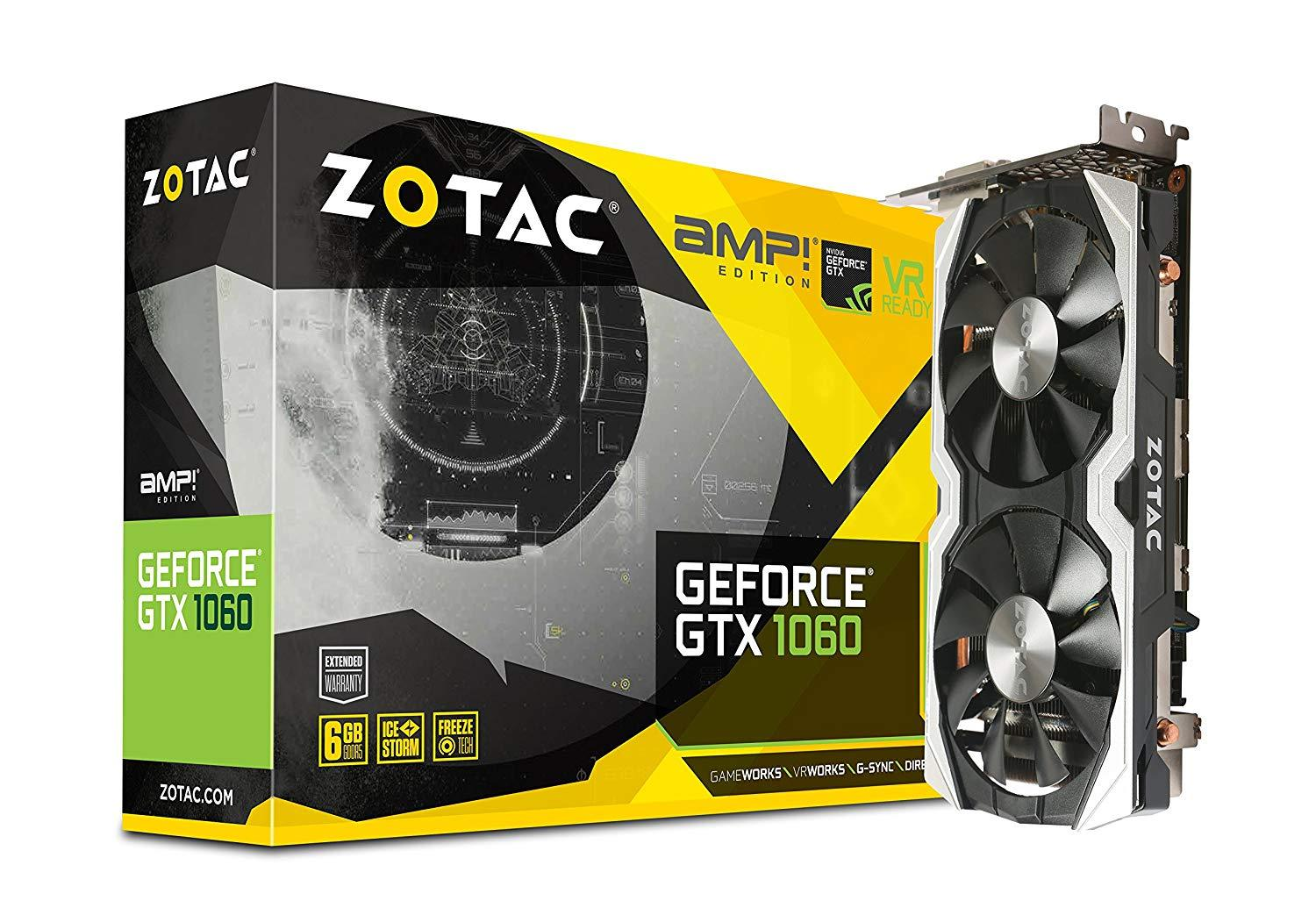 Zotac Gaming GeForce GTX 1060 AMP Edition 6GB GDDR5 PCI-E Gen 3x4 - Graphics Card