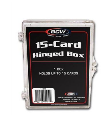 2 BCW 15 Count Hinged Plastic Baseball Trading Card Storage Boxes hinge box