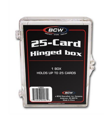 2 BCW 25 Count Hinged Plastic Baseball Trading Card Storage Boxes hinge box