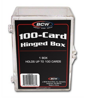 1 BCW 100 Count Hinged Plastic Baseball Trading Card Storage Boxes hinged box