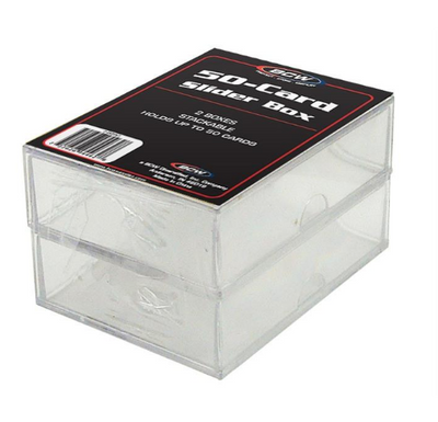 1 BCW 50 Count Baseball Trading Plastic Card Slider Boxes 2-piece box 2 in pack