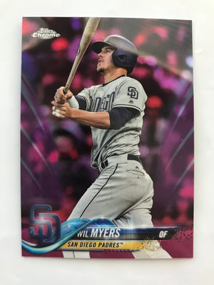 2018 Topps Chrome Baseball Wil Meyers Pink Refractor Card