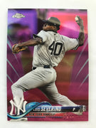 2018 Topps Chrome Baseball Luis Severino Pink Refractor Card
