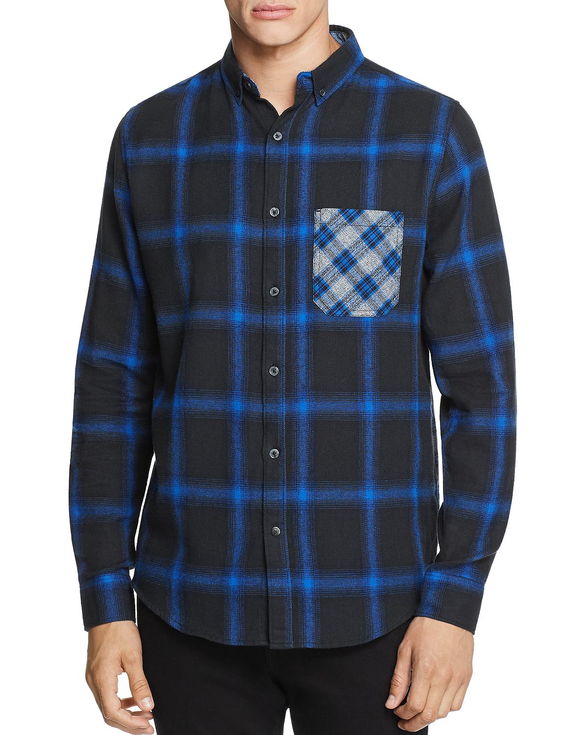 Sovereign Code Local Legend Mixed-print Flannel Regular Fit Button-down Shirt