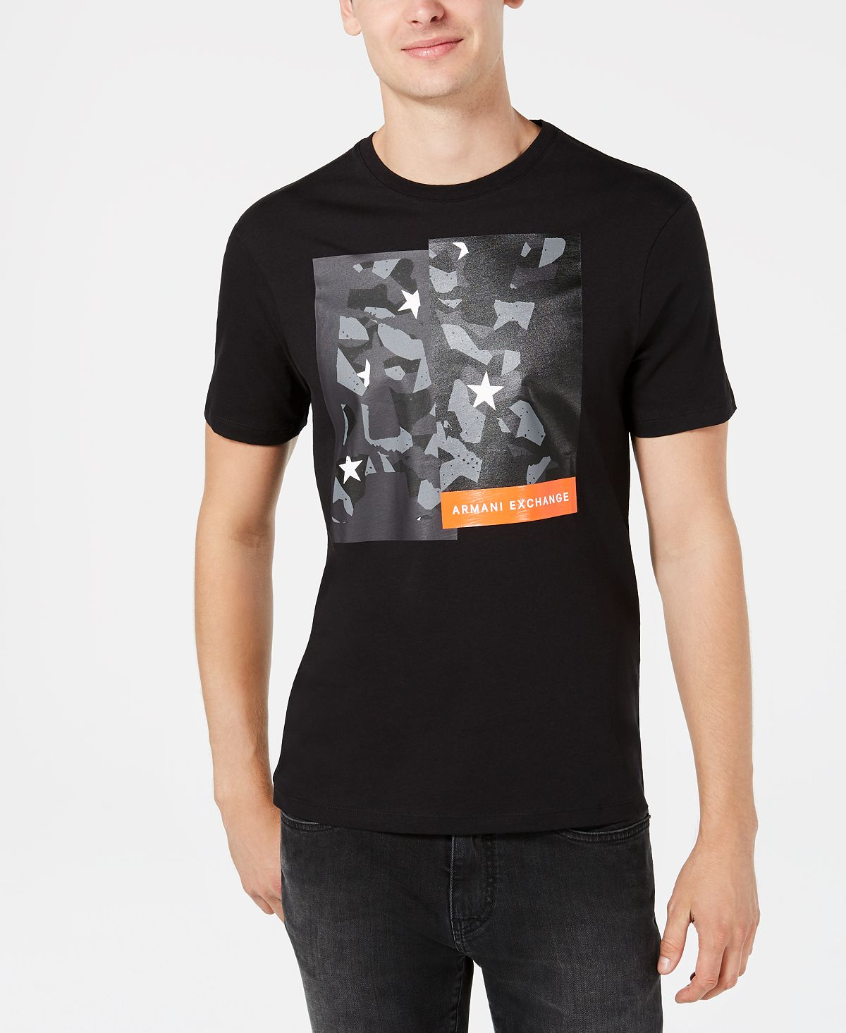 A|x Armani Exchange Camo Block Logo Graphic T-shirt