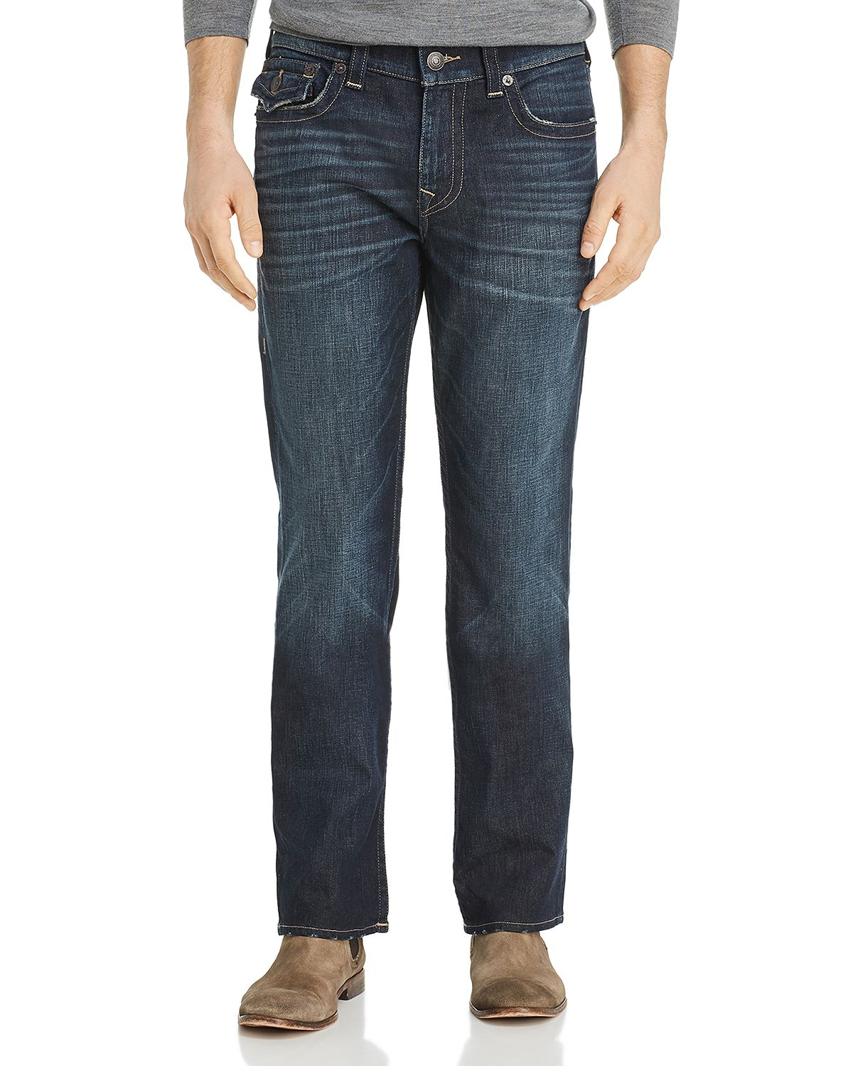 True Religion Ricky Flap Straight Fit Jeans In Dark Axle