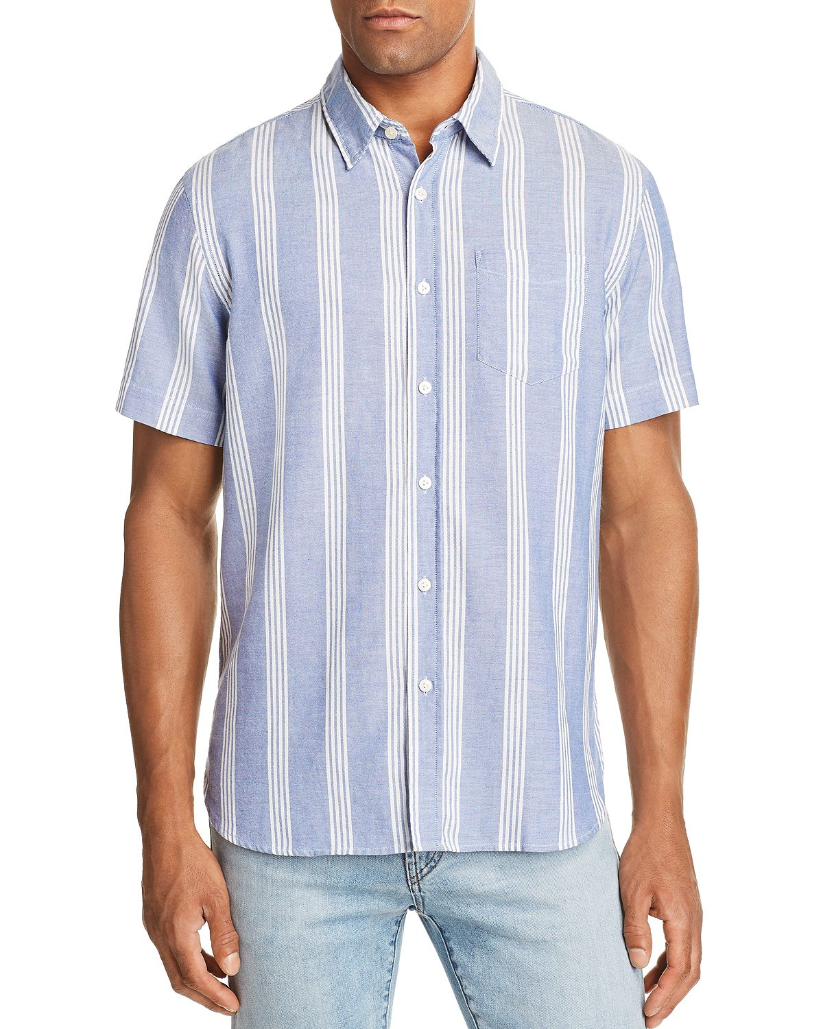 Jachs Ny Wide-stripe Regular Fit Button-down Shirt