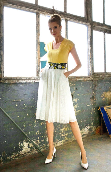 THREE TONE PLEATED DRESS