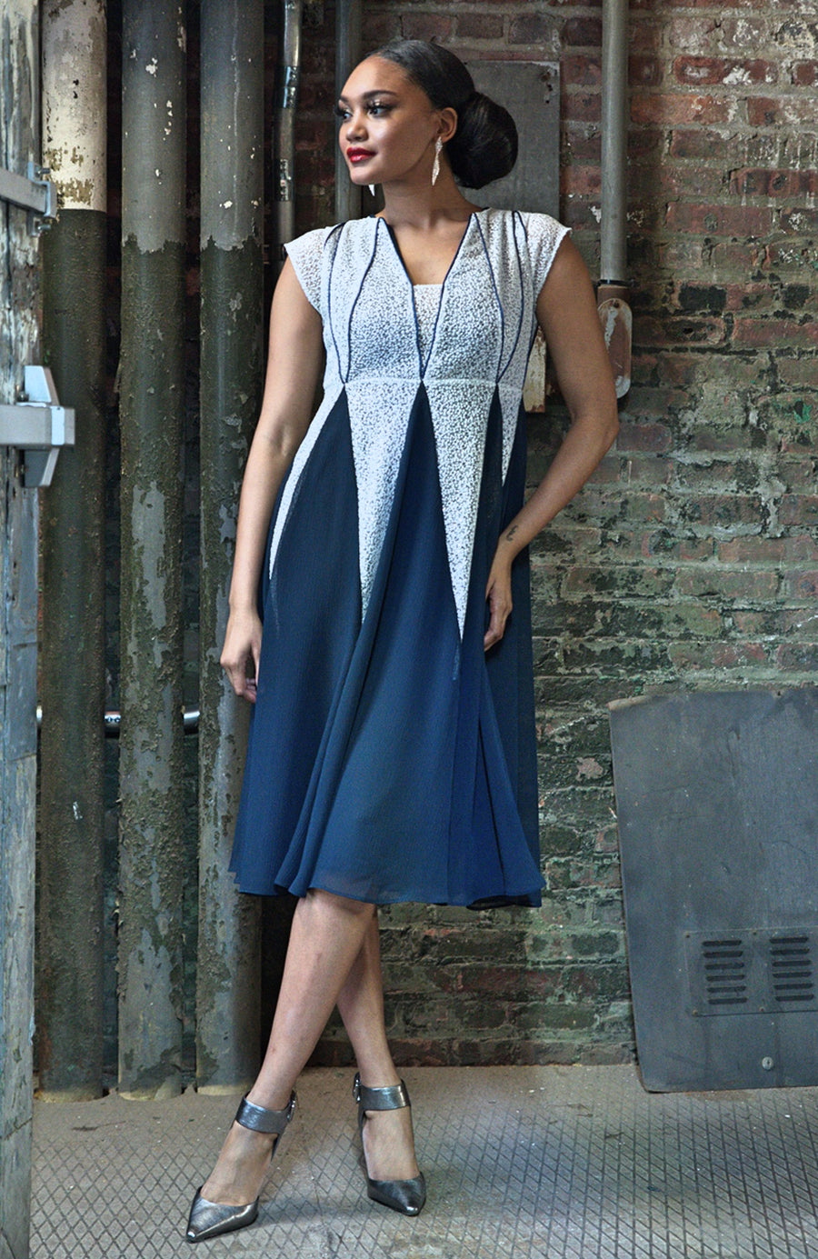 PIPED GODET MIDI DRESS