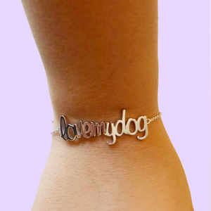 Pulsera plata Love My Dog