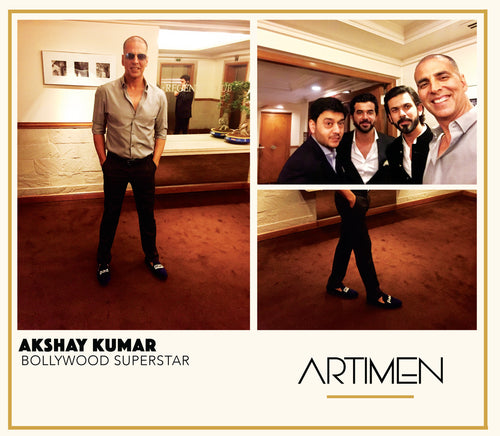 Akshay Kumar in Customized Velvet Loafers