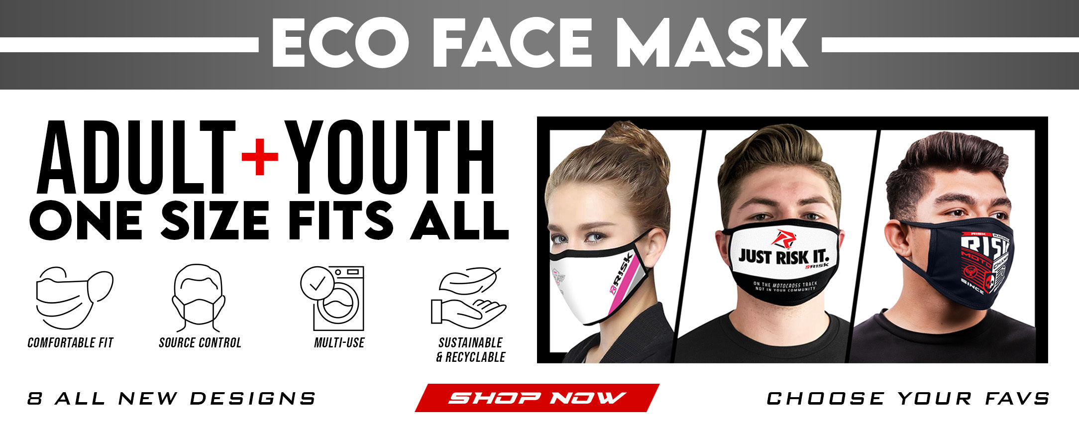 Reusable and washable cotton face masks/face covering by Risk Racing