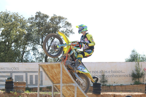 Risk Racing rider on freestyle motocross ramp
