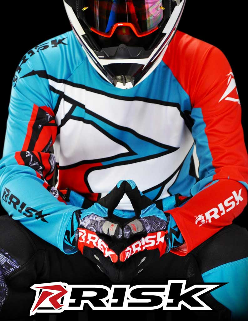 Risk Racing Ventilate poster featuring close up of racer wearing blue and orange jersey pants and gloves