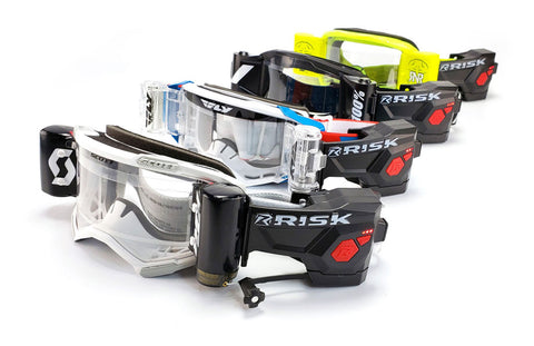 Motocross goggles with the Risk Racing Ripper Automated Roll-off system for MX