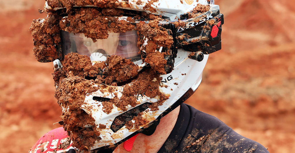 The Ripper Goggle Roll Off letting this person see through extremely muddy goggles and helmet