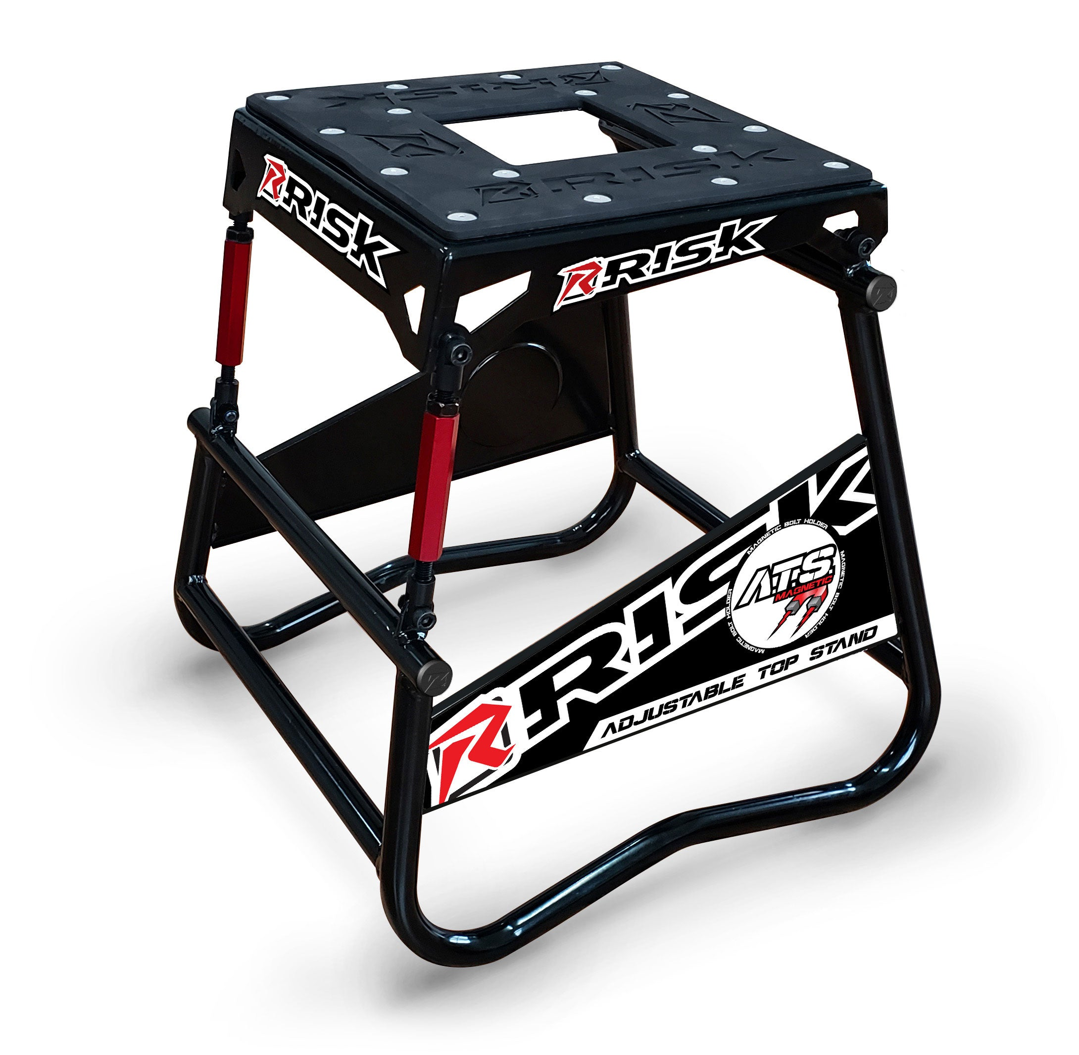 Risk Racing A.T.S. Adjustable Top Moto Stand with Magnetic Bolt Panel