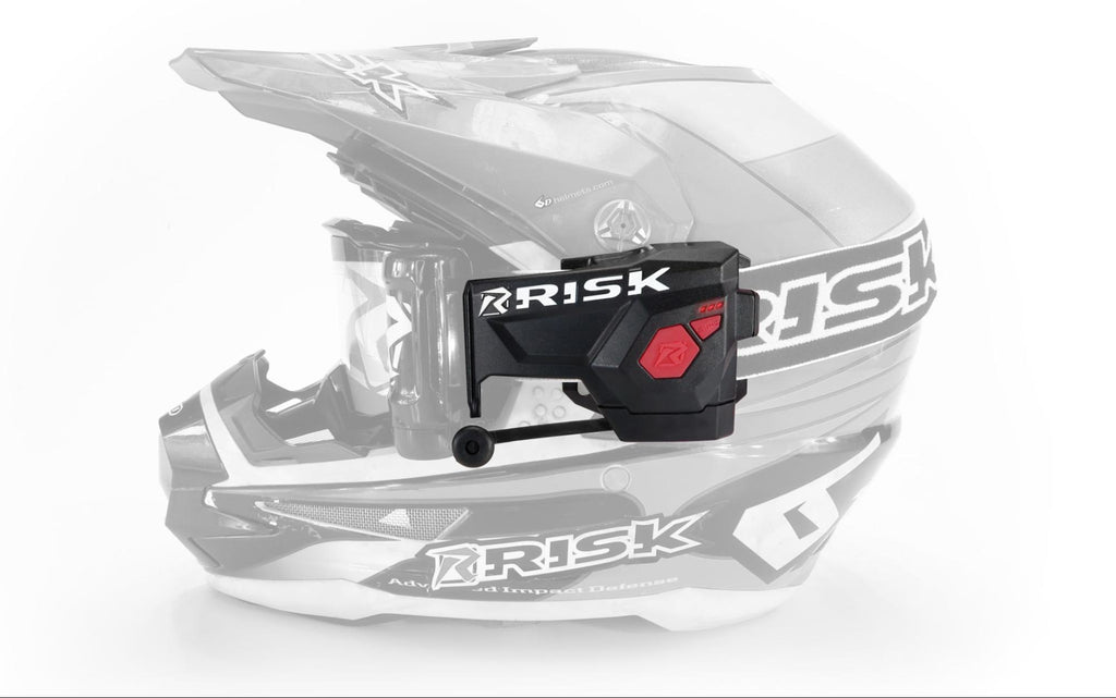 faded opacity on motocross helmet showing off the ripper auto roll off system by Risk Racing
